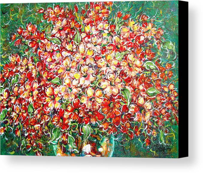Flowers Canvas Print featuring the painting Cottage Garden Flowers by Natalie Holland