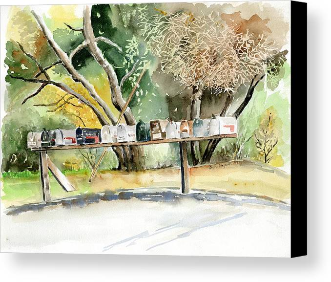 Mailboxes Canvas Print featuring the painting Country Mailboxes by Arline Wagner