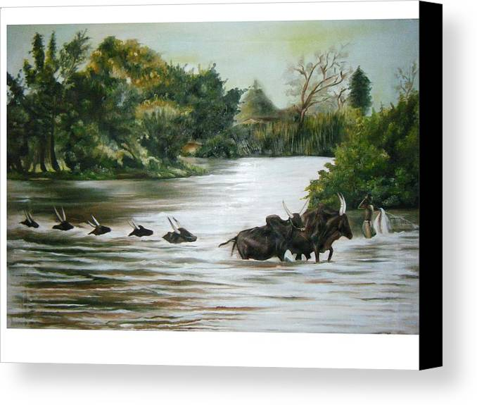 Cows Canvas Print featuring the painting Cow Habitant by Olaoluwa Smith