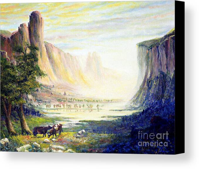 Cow Canvas Print featuring the painting Cows In The Mountain by Wingsdomain Art and Photography
