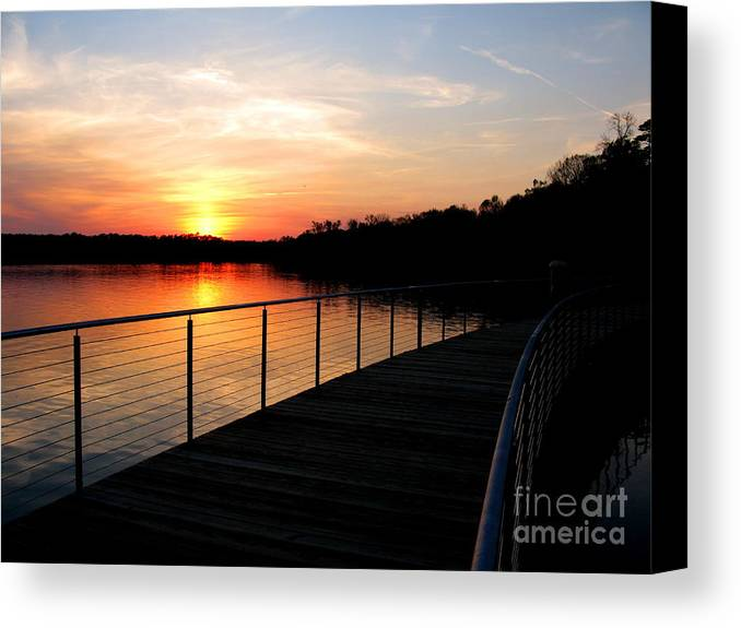 Water Canvas Print featuring the photograph Crossing The Bridge by PJ Cloud