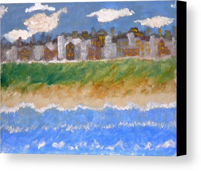 Seascape Canvas Print featuring the painting Crowded Beaches by R B