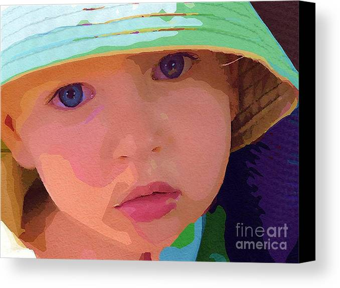 Boy In Hat Canvas Print featuring the painting Cutie by Deborah Selib-Haig DMacq