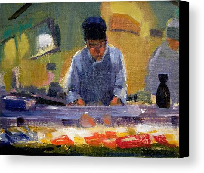 Sushi Canvas Print featuring the painting Cutting Sushi by Merle Keller