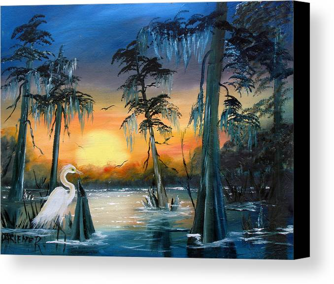 Swamp Canvas Print featuring the painting Cypress Swamp by Darlene Green