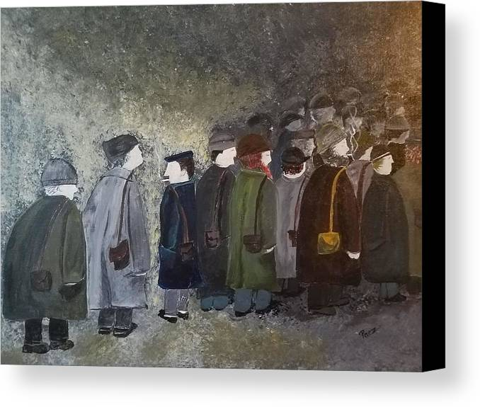 People Canvas Print featuring the painting Daily Drudge by Sheli Paez