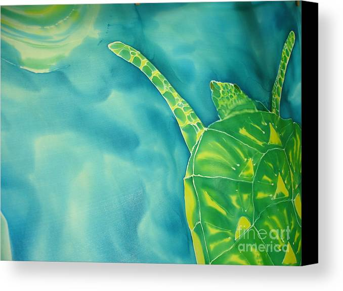 Sea Turtle Canvas Print featuring the painting Deep Sea Flight by Eric Singleton