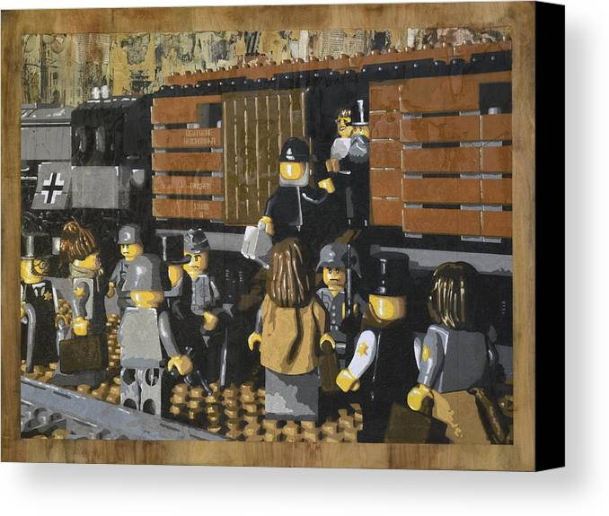 Lego Canvas Print featuring the painting Deportation From Warsaw To Treblinka July 22 1942 by Josh Bernstein