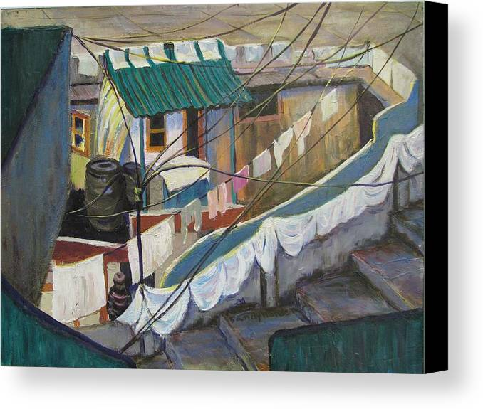 Landscape Canvas Print featuring the painting Dhobi by Art Nomad Sandra Hansen