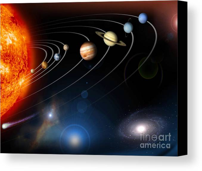 Stars Canvas Print featuring the digital art Digitally Generated Image Of Our Solar by Stocktrek Images