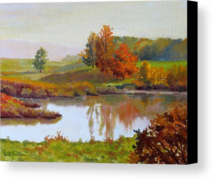 Landscape Canvas Print featuring the painting Distant Maples by Keith Burgess