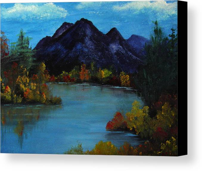 Mountain Canvas Print featuring the painting Distant Mountain View by Rhonda Myers