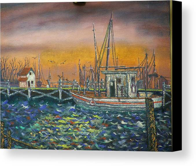 Landscape Canvas Print featuring the painting Dockside by Charles Vaughn