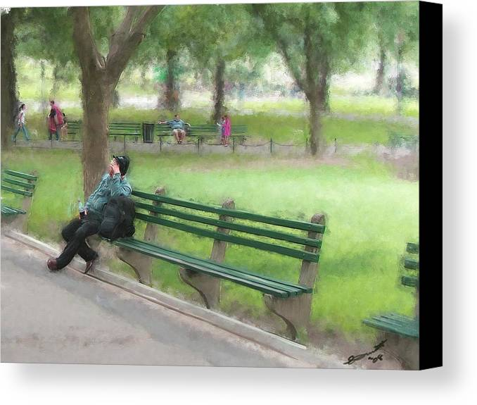 Boston Common Homeless Old Man Green Bench Park Canvas Print featuring the painting Down But Not Out by Eddie Durrett