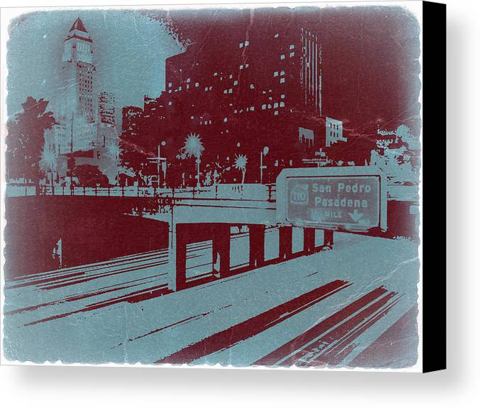 Canvas Print featuring the photograph Downtown La by Naxart Studio