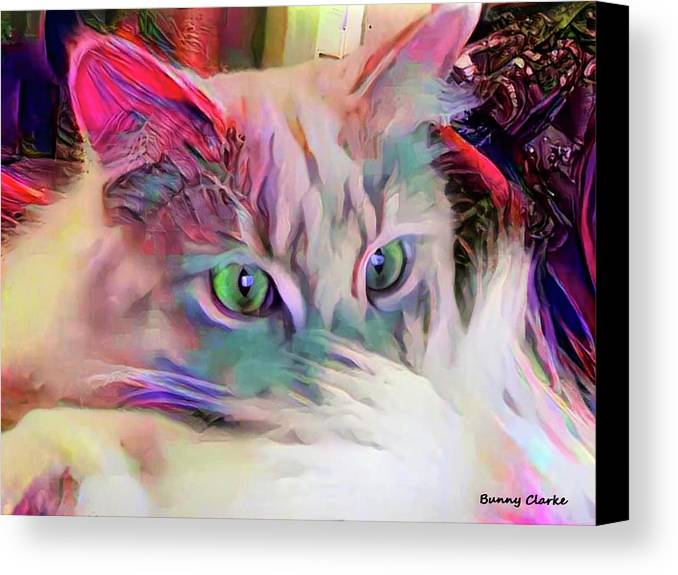 Animals Canvas Print featuring the digital art Dreaming Of A Sunny Spot by Bunny Clarke