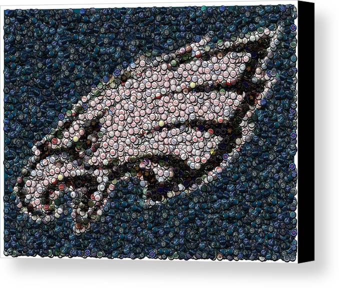 Philly Canvas Print featuring the mixed media Eagles Bottle Cap Mosaic by Paul Van Scott