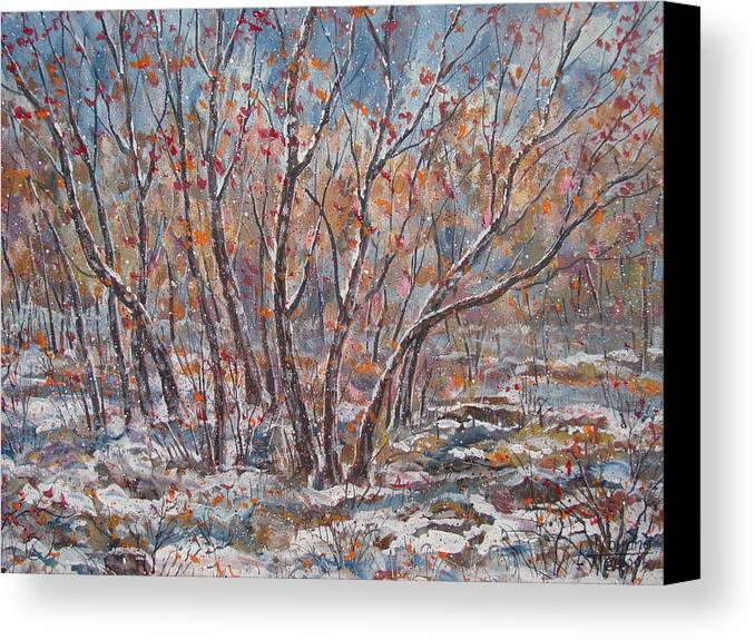 Landscape Canvas Print featuring the painting Early Snow. by Leonard Holland