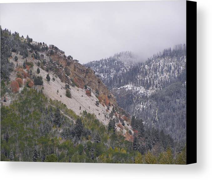 Mountain Canvas Print featuring the photograph Early Snows by DeeLon Merritt