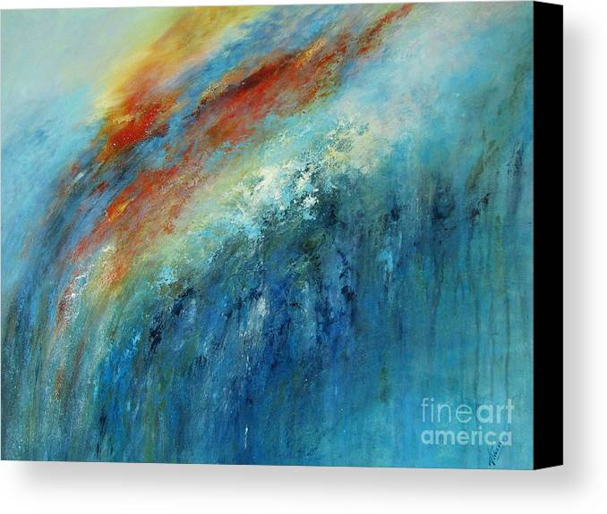 Abstract Canvas Print featuring the painting Echoes Of Sunset by Valerie Travers