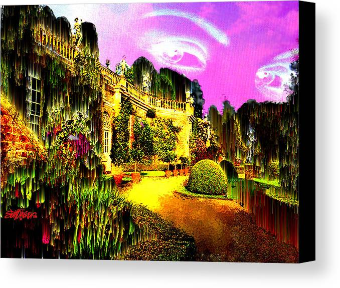 Mansion Canvas Print featuring the digital art Eerie Estate by Seth Weaver
