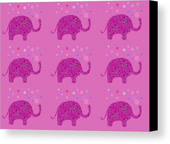 Purple Elephant Canvas Print featuring the digital art Elephant Pattern by Kathleen Sartoris