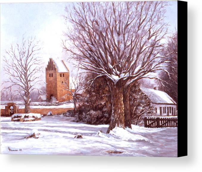 Snow Canvas Print featuring the painting European Winter Scene by Grace Nikander