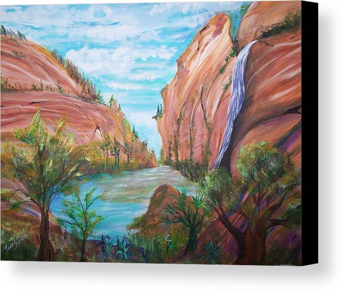 Desert Canvas Print featuring the painting Even In The Desert by Wendy Smith
