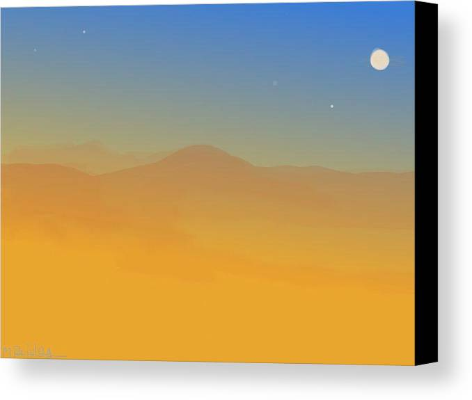 Landscape Canvas Print featuring the painting Evening Haze by Margot Paisley