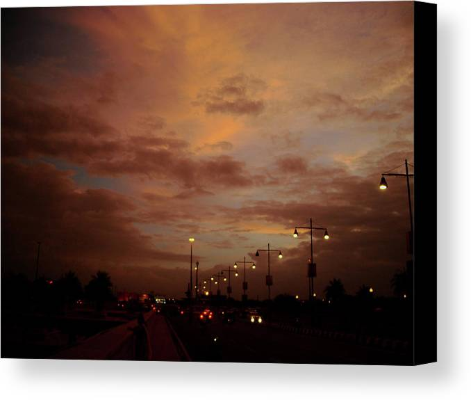 City Canvas Print featuring the photograph Evening Lights On Road by Atullya N Srivastava