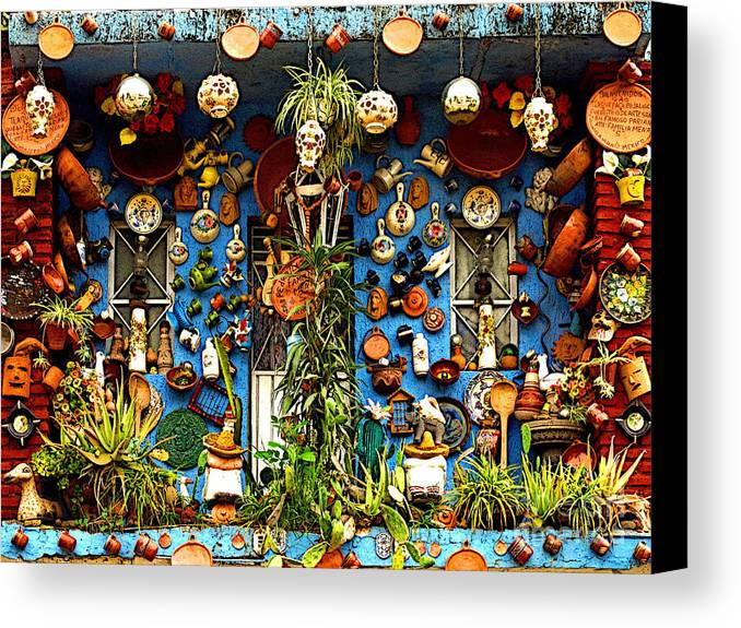 Tlaquepaque Canvas Print featuring the photograph Every Nook And Cranny by Mexicolors Art Photography