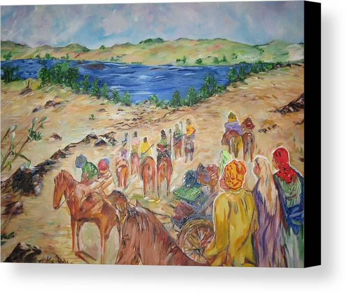 Religious Canvas Print featuring the painting Exodus by Impressionist FineArtist Tucker Demps Collection