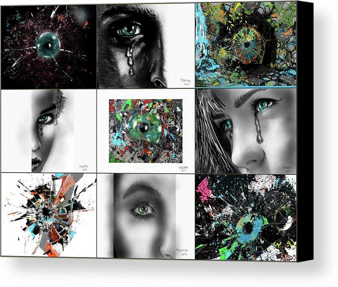 Fine Art Canvas Print featuring the mixed media Eyes Popurri by Ricardo Mester