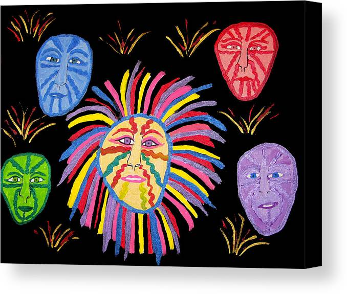 Canvas Print featuring the painting Faces Out Of The Dark by Betty Roberts