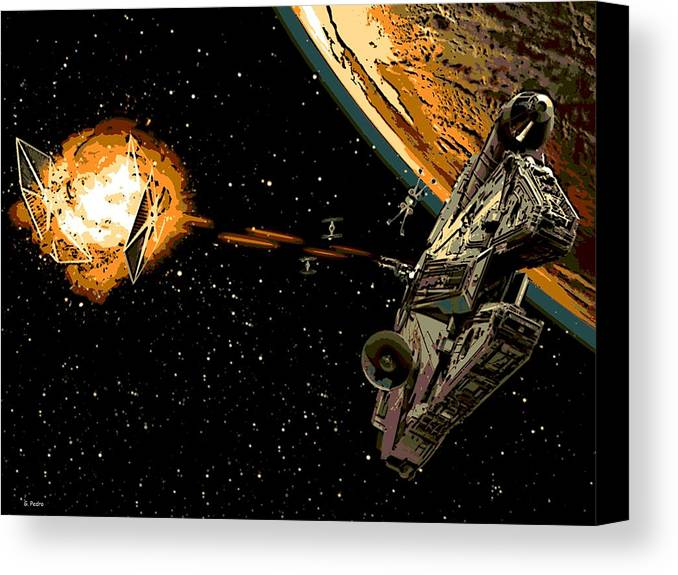 Millenium Falcon Canvas Print featuring the digital art Falcon Fights Back by George Pedro