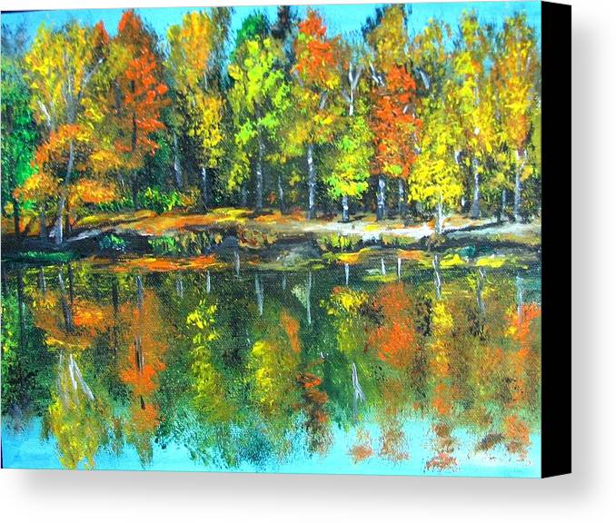 Fall Canvas Print featuring the painting Fall Landscape Acrylic Painting Framed by Natalja Picugina