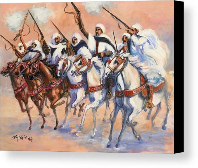 Fantasia Canvas Print featuring the painting Fantasia Algerienne by Josette SPIAGGIA