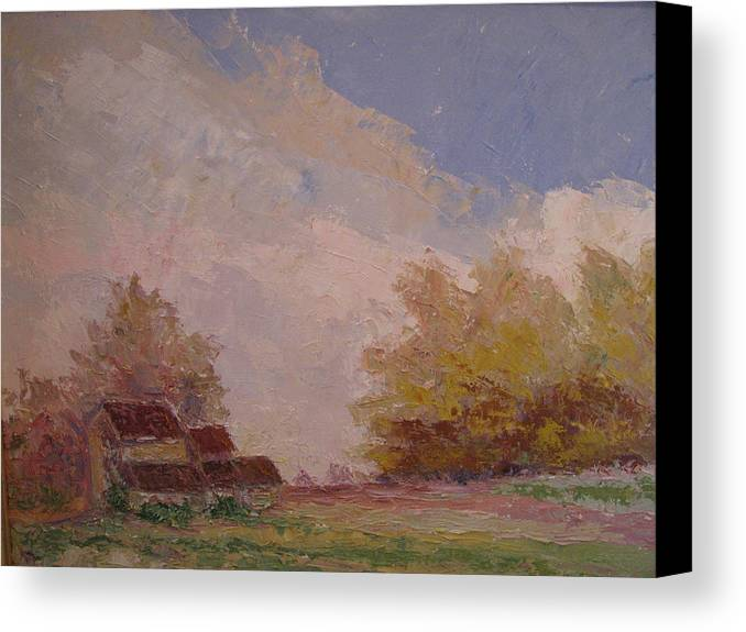 Farm Scene Canvas Print featuring the painting Farmstead Hunterdon Nj by Belinda Consten