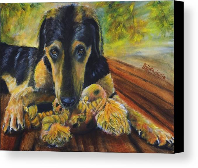 Dog Canvas Print featuring the painting Favorite Things by Nik Helbig