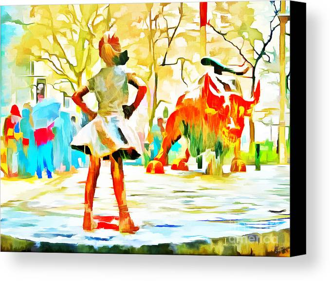 Fearless Girl And Wall Street Bull Statues 6 Watercolor Canvas Print ...