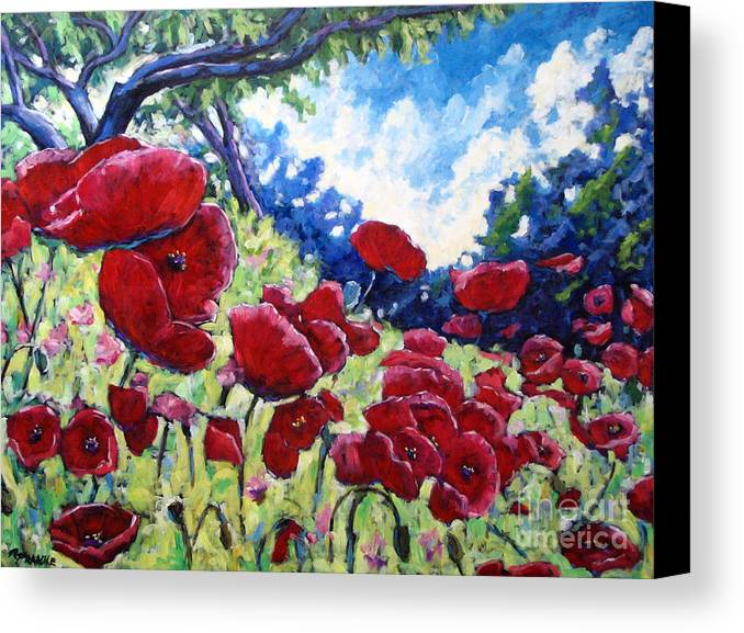 Poppies Canvas Print featuring the painting Field Of Poppies 02 by Richard T Pranke