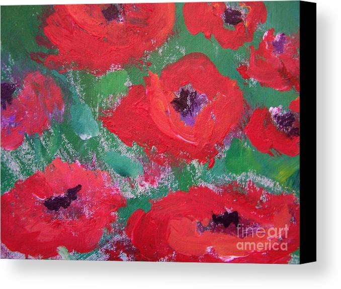 Floral Canvas Print featuring the painting Field Of Red by Geraldine Liquidano