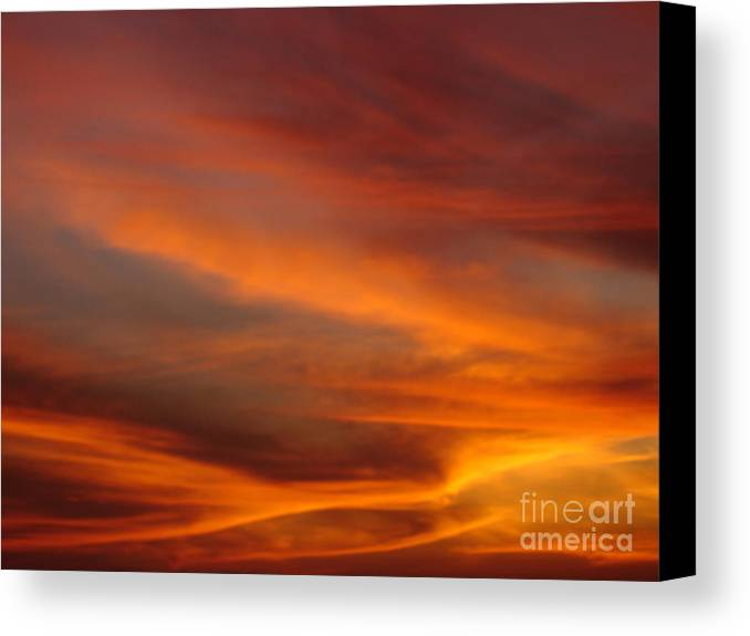 Sunsets Canvas Print featuring the photograph Fire In The Sky 1 by Chad Natti