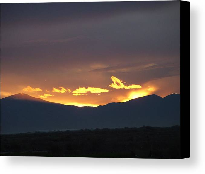 Sunset Canvas Print featuring the photograph Fire In The Sky by Shari Chavira