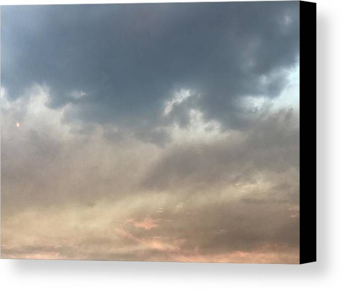 Sky Canvas Print featuring the photograph Fire Sky Sunset With Moon by Lorie Stevens