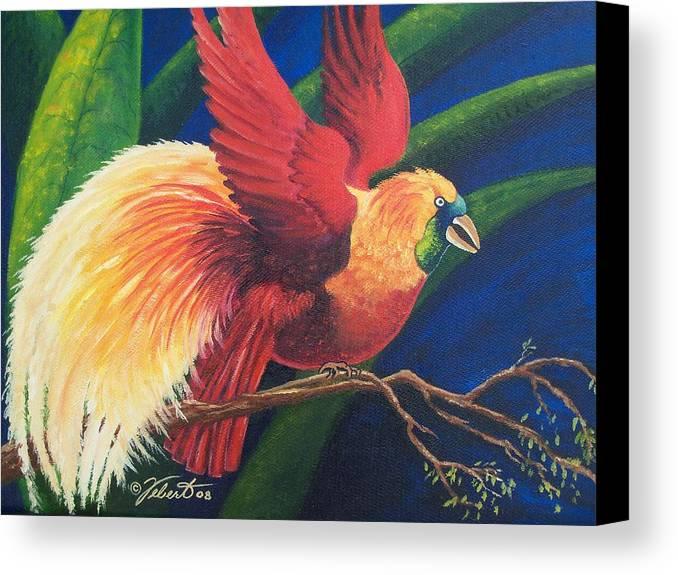 Bird Canvas Print featuring the painting Firebird by Dennis Vebert