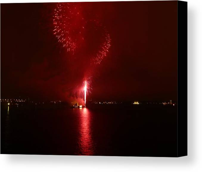 Fireworks Canvas Print featuring the photograph Fireworks 26 by Kendall Eutemey