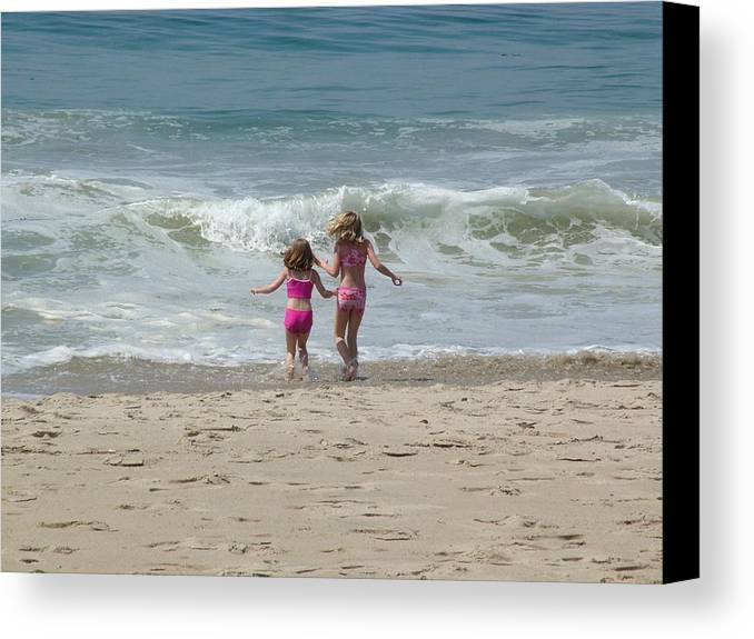 Girls Canvas Print featuring the photograph First Day At Beach by John Loyd Rushing