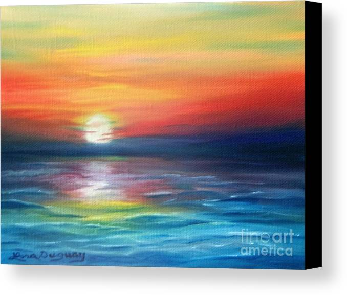 Sunrise Canvas Print featuring the painting First Light by Lora Duguay