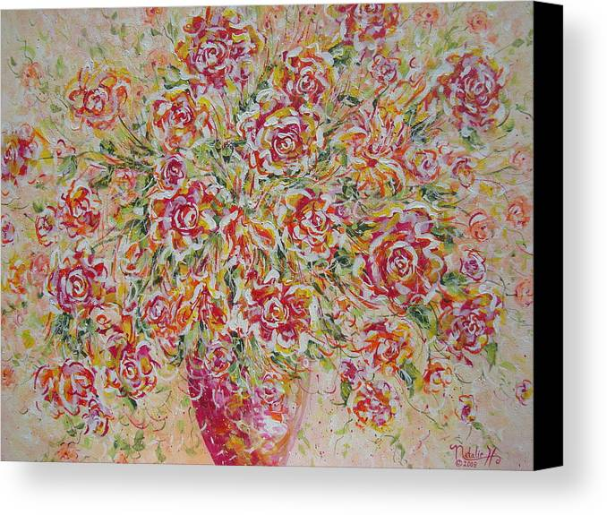 Flowers. Floral Canvas Print featuring the painting First Love Flowers by Natalie Holland